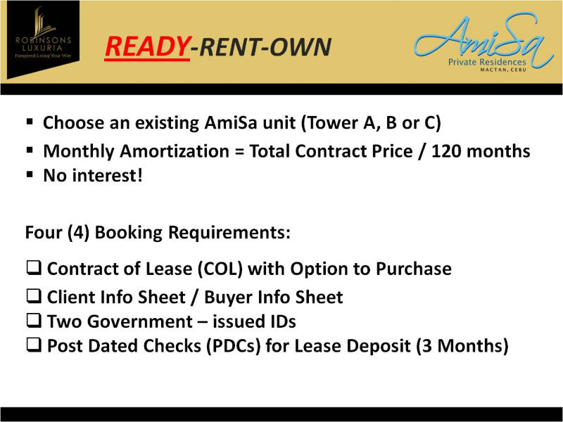 Rent To Own Condo Units In Amisa Resorts Residences